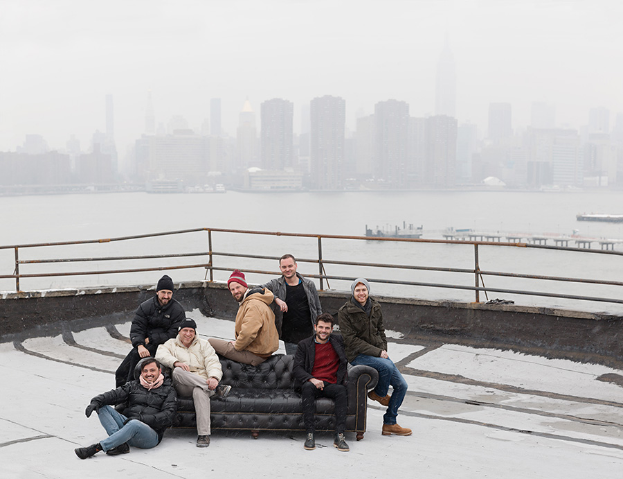 Recom Farmhouse crew on the roof top of the studio in Brooklyn